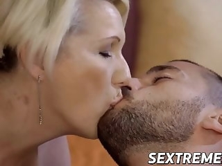 Busty blonde GILF Bibi Pink fucked by young hard cock blowjob cumshot mature video