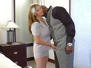 Sexy blonde and brown blonde blowjob interracial video