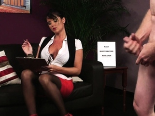 English voyeur in glasses instructing her sub big cocks brunette cfnm video