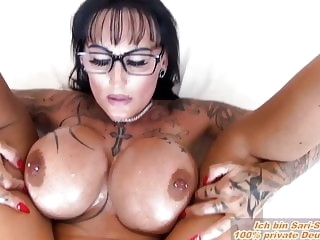 German milf big tits boobs fucks in oil POV n glasses amateur milf pov video